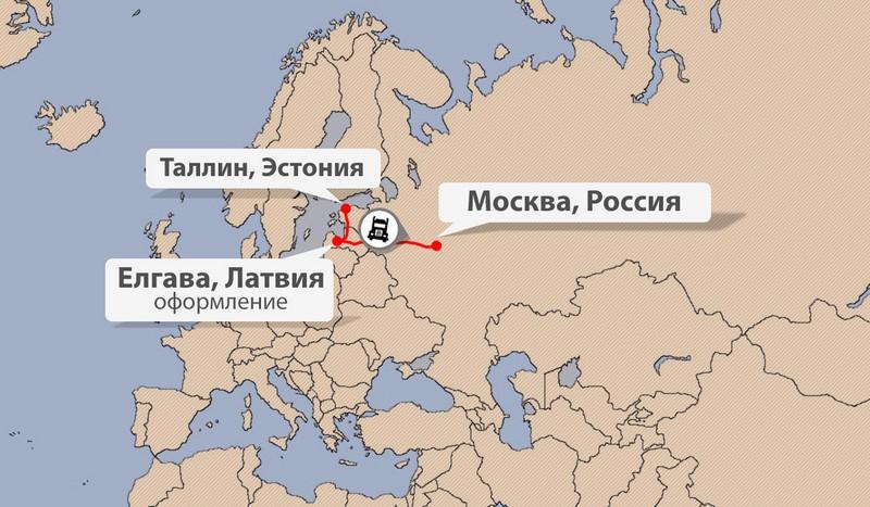 Карта доставки из Эстонии в Россию