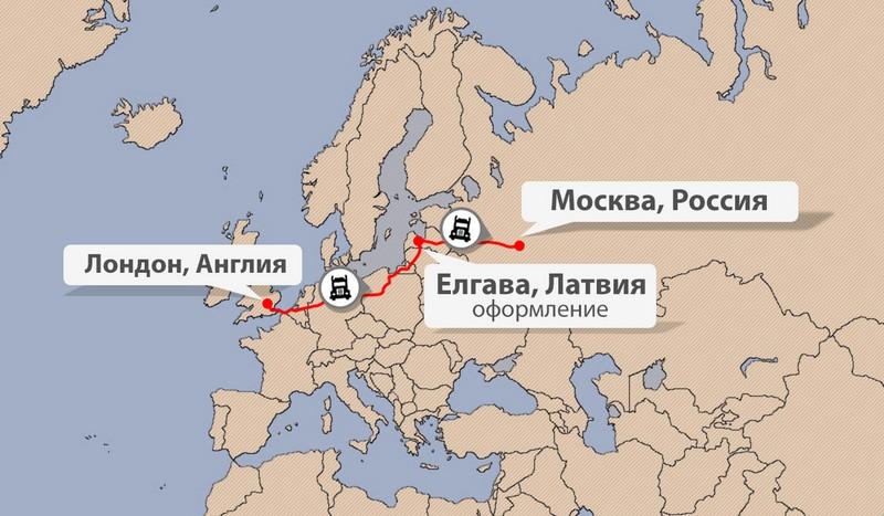 Карта доставки сборных грузов из Англии