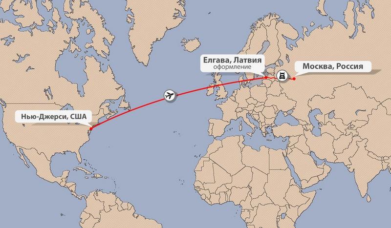 Карта доставки сборных грузов из США в Россию