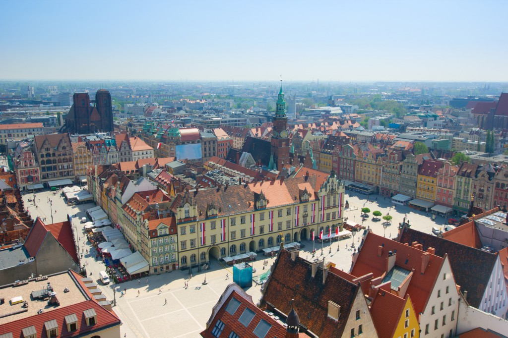 old town square with city hall, Wroclaw, Poland