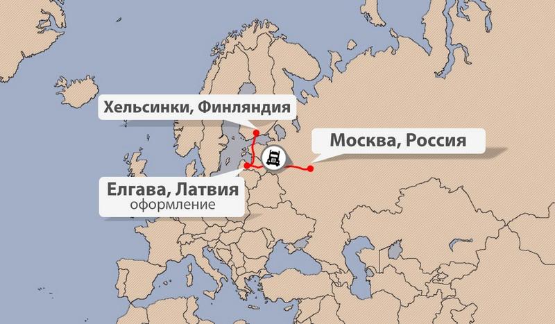 Карта доставки грузов из Финляндии