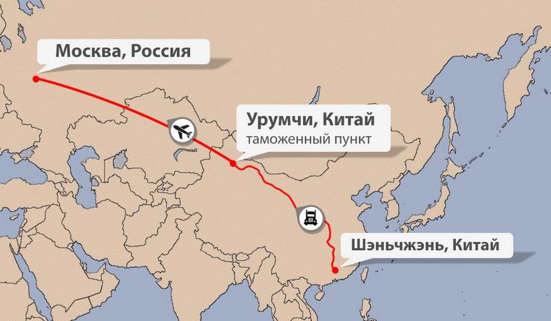 Карта доставки сборного груза из Китая