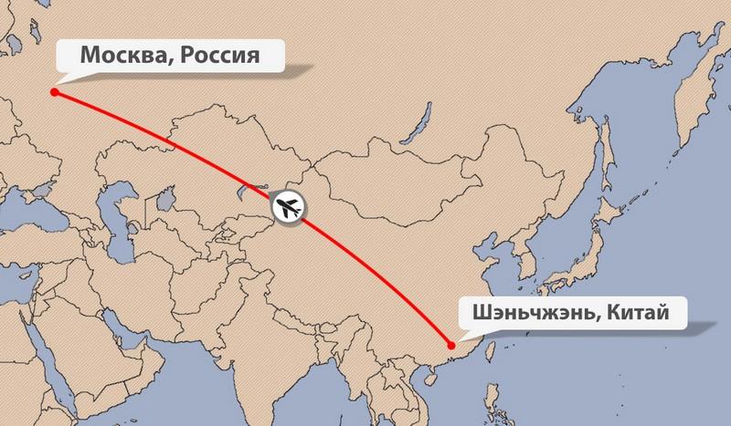 Карта авиадоставки из Китая