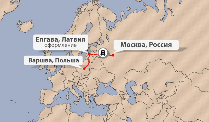 Карта доставки грузов из Польши